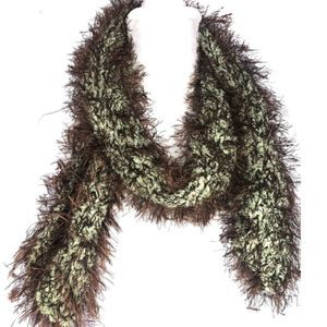 Green/Brown Fun Fur Scarf